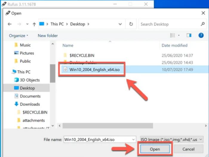 chọn tệp ISO cài đặt Windows 10