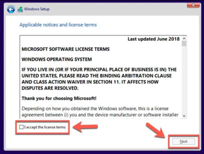 chấp nhận thỏa thuận cấp phép Windows 10