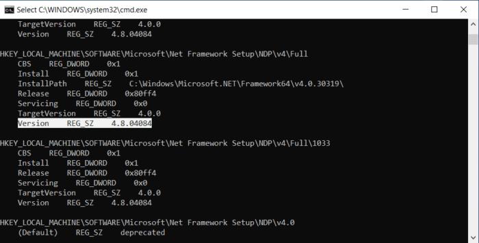 phiên bản .NET nằm bên cạnh Version