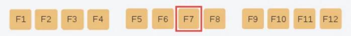 Chức năng của phím F7