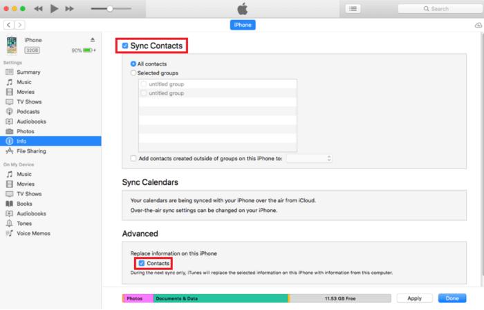 Chuyển danh bạ sang iPhone mới bằng iTunes
