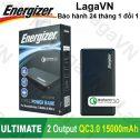 Pin sạc dự phòng Energizer 15000mAh 2 cổng Output Quick Charge 3.0 - UE15002CQ - Hãng phân phối chính thức