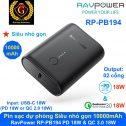 Pin sạc dự phòng siêu nhỏ RAVPower RP-PB194 10000mAh PD 18W & QC 3.0 18W