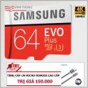 Thẻ nhớ 64Gb MicroSD Samsung Evo Plus 100MB/s U3 Class10 kèm Adapter - (Bảo hành 5 năm) tặng Cáp micro...
